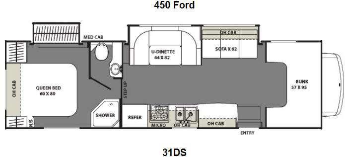 Floorplan - 2013 Coachmen RV Freelander 31DS Ford 450