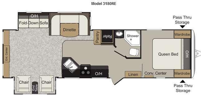 Floorplan - 2013 Keystone RV Passport 3180RE Grand Touring