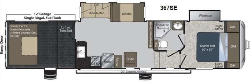 Floorplan - 2013 Keystone RV Raptor 367SE