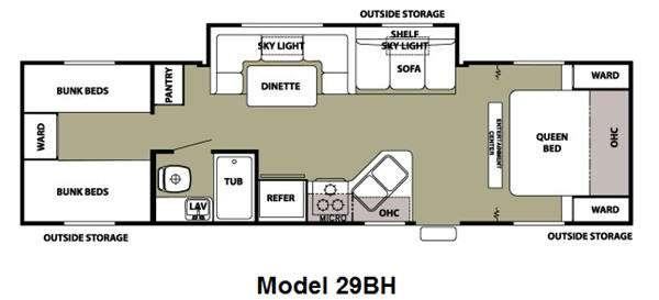 Floorplan - 2013 Forest River RV Cherokee Grey Wolf 29BH