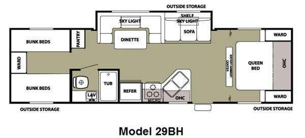 Floorplan - 2013 Forest River RV Cherokee Grey Wolf 29BH