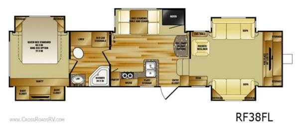 Floorplan - 2013 Rushmore RF38FL Fifth Wheel