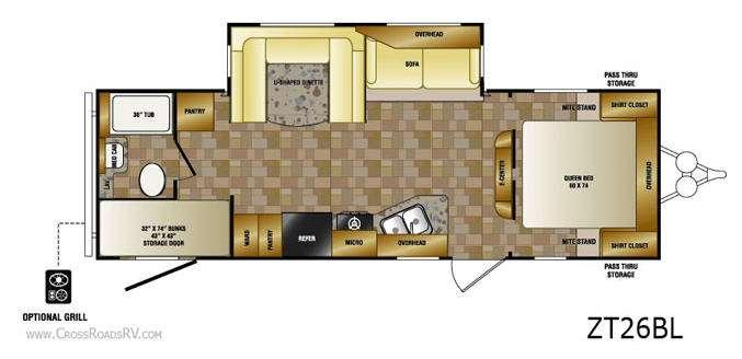 Floorplan - 2013 CrossRoads RV Zinger ZT26BL