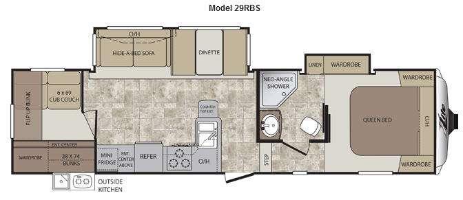 Floorplan - 2013 Keystone RV Cougar X-Lite 29RBS