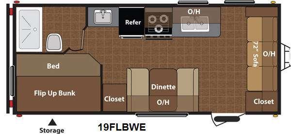 Floorplan - 2013 Keystone RV Hideout 19FLBWE