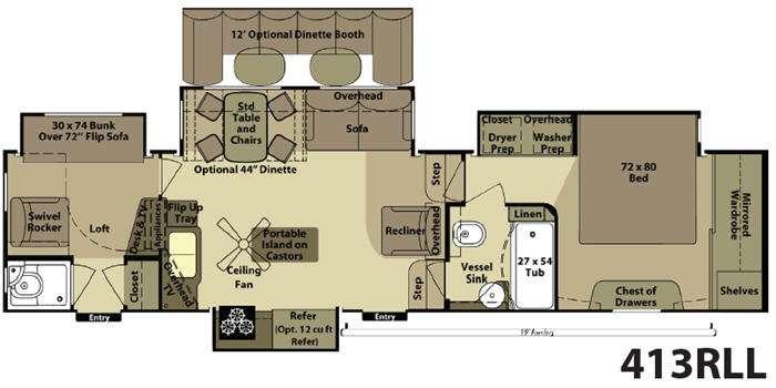 Floorplan - 2013 Open Range RV 413RLL