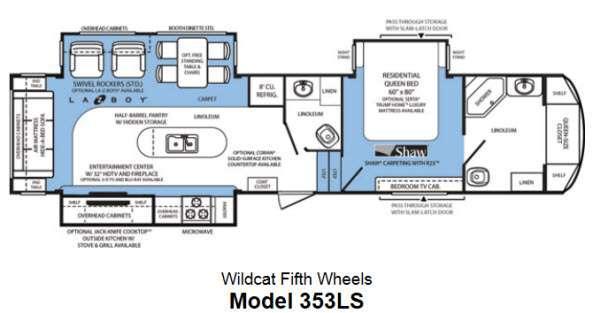 Floorplan - 2013 Forest River RV Wildcat 353LS