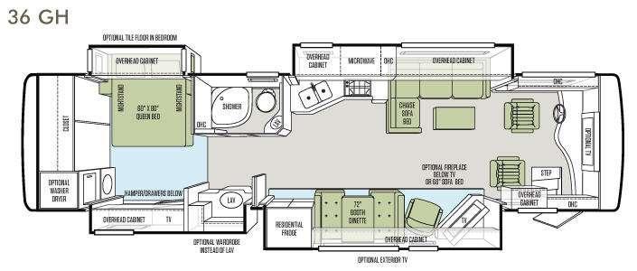 Floorplan - 2013 Tiffin Motorhomes Phaeton 36 GH