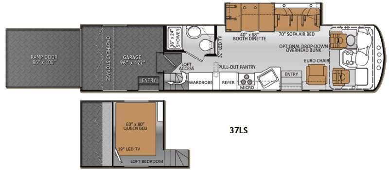 Floorplan - 2013 Thor Motor Coach Outlaw 37LS