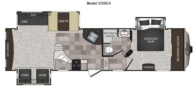 Floorplan - 2013 Keystone RV Cougar High Country 315RES