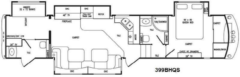 Floorplan - 2014 Tradition 399BHQS Fifth Wheel