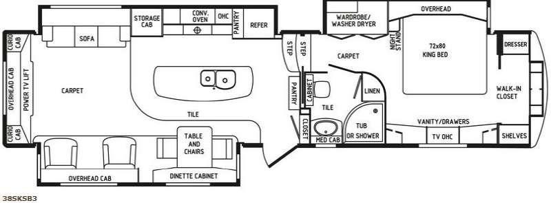 Floorplan - 2014 DRV Luxury Suites Mobile Suites 38 SKSB3