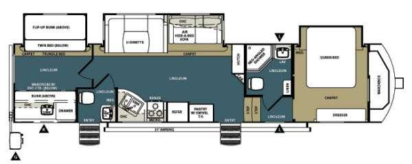 Floorplan - 2014 Forest River RV Wildwood Heritage Glen 346QBUD