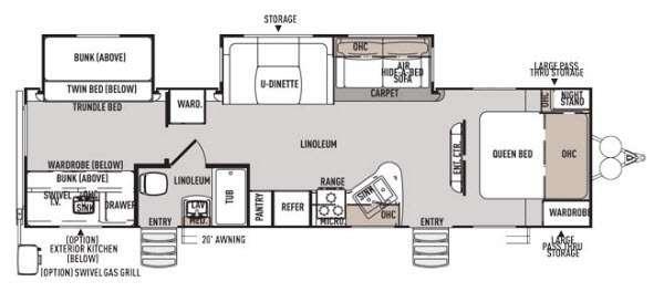 Floorplan - 2014 Forest River RV Wildwood Heritage Glen 312QBUD