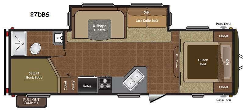 Floorplan - 2014 Keystone RV Hideout 27DBS