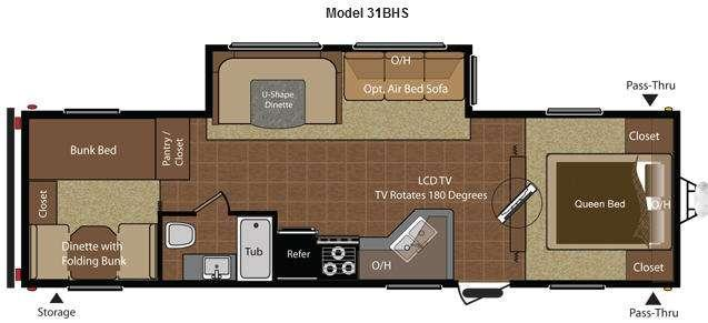 Floorplan - 2014 Hideout 31BHS Travel Trailer
