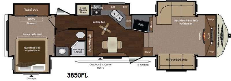 Floorplan - 2014 Keystone RV Montana 3850 FL