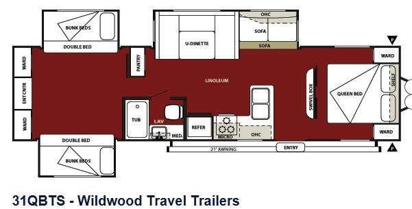 Floorplan - 2013 Forest River RV Wildwood 31QBTS