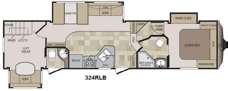 Floorplan - 2014 Cougar 324RLB Fifth Wheel