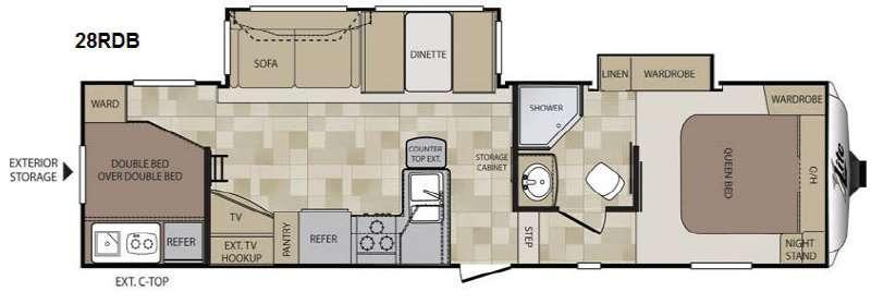 Floorplan - 2014 Keystone RV Cougar X-Lite 28RDB