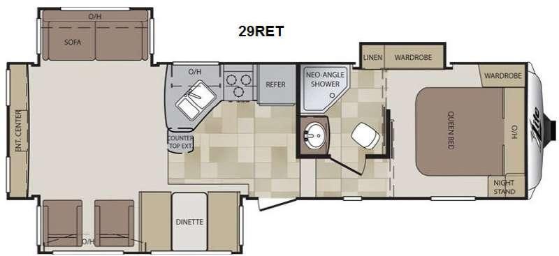 Floorplan - 2014 Keystone RV Cougar X-Lite 29RET