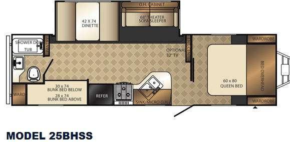 Floorplan - 2014 Palomino Solaire 25 BHSS Sevens