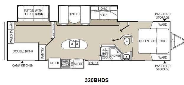 Floorplan - 2014 Coachmen RV Freedom Express 320BHDS