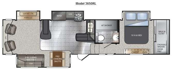 Floorplan - 2014 Alpine 3650RL Fifth Wheel
