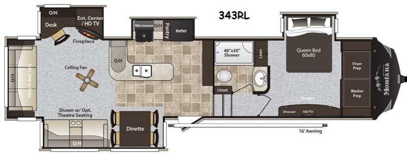 Floorplan - 2014 Keystone RV Montana High Country 343RL