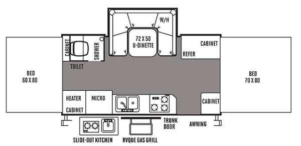Floorplan - 2014 Forest River RV Flagstaff High Wall HW27KS