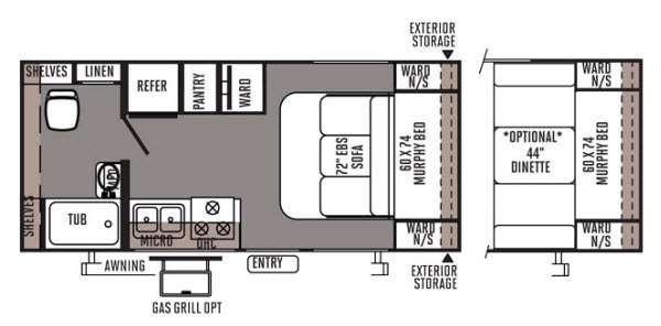 Floorplan - 2014 Forest River RV Rockwood Mini Lite 1901