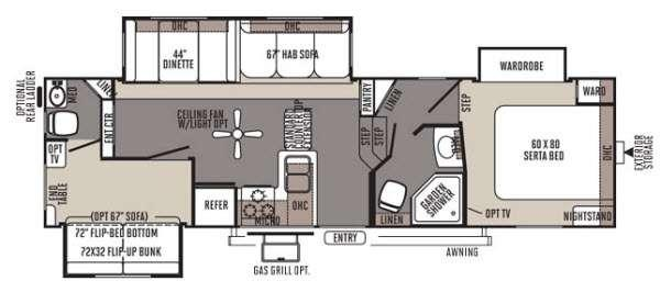 Floorplan - 2014 Forest River RV Rockwood Signature Ultra Lite 8281WS