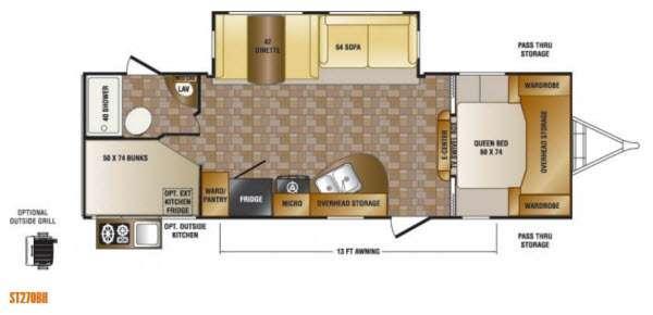 Floorplan - 2014 CrossRoads RV Sunset Trail Super Lite ST270BH