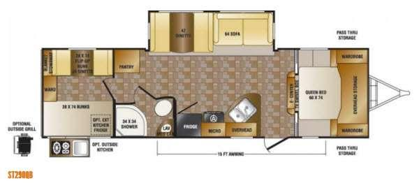 Floorplan - 2014 CrossRoads RV Sunset Trail Super Lite ST290QB
