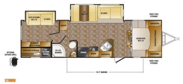 Floorplan - 2014 CrossRoads RV Sunset Trail Super Lite ST300BH