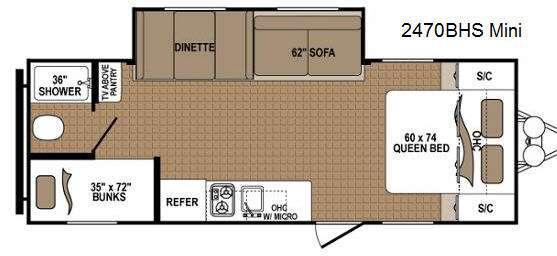 Floorplan - 2014 Dutchmen RV Aspen Trail 2470BHS Mini
