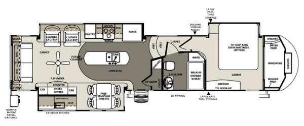 Floorplan - 2014 Forest River RV Sandpiper 35ROK
