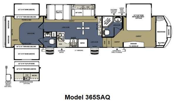 sandpiper fifth wheel with bunks floor plan trend home 2017 forest river sandpiper 372lok model