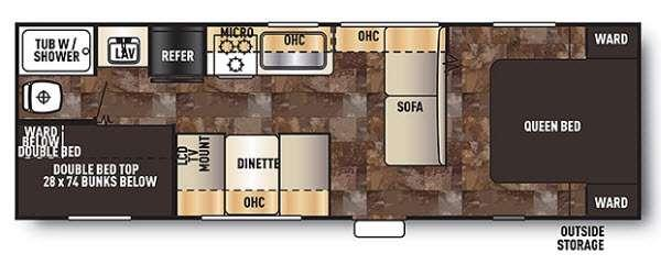 Floorplan - 2014 Forest River RV Cherokee Grey Wolf 26BH