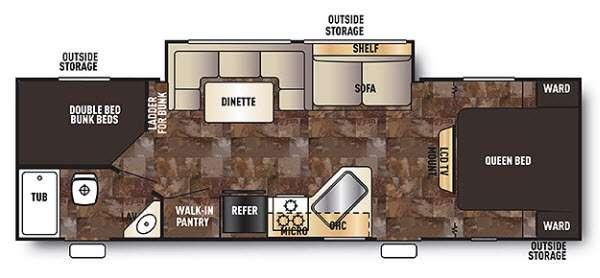 Floorplan - 2014 Forest River RV Cherokee Grey Wolf 26DBH