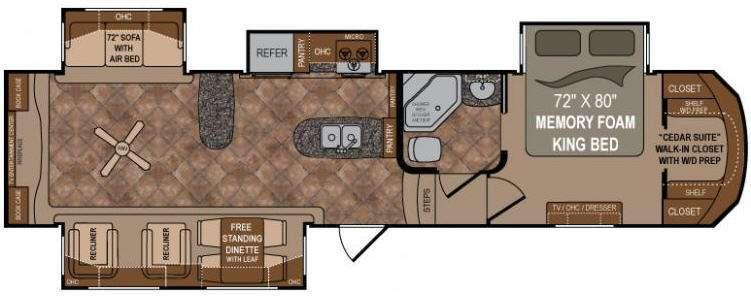Floorplan - 2014 Infinity 3470RE Fifth Wheel