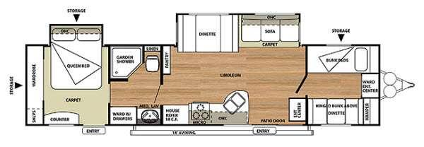 Floorplan - 2014 Forest River RV Salem 36BHBS