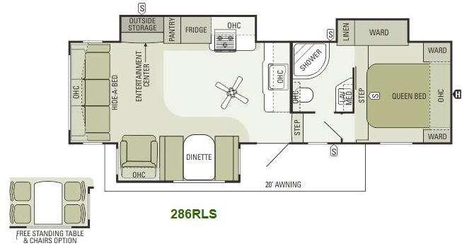 Floorplan - 2014 Travel Star 286RLS Fifth Wheel