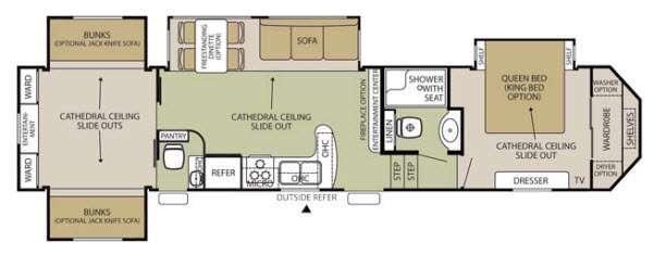 Floorplan - 2014 Forest River RV Cedar Creek Silverback 35QB4