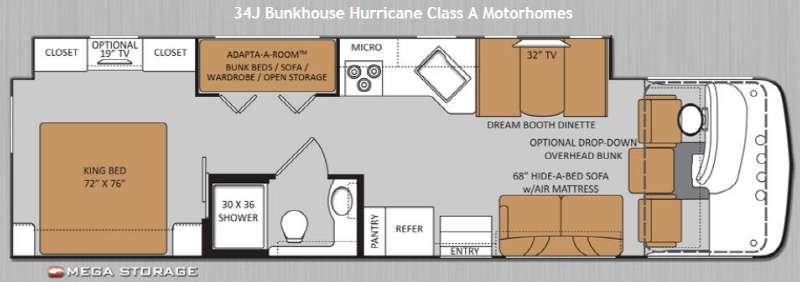 Floorplan - 2014 Thor Motor Coach Hurricane 34J