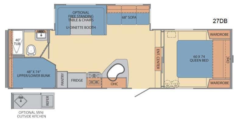 Floorplan - 2014 Shasta RVs Revere 27DB