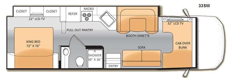 Floorplan - 2014 Thor Motor Coach Four Winds Super C 33SW