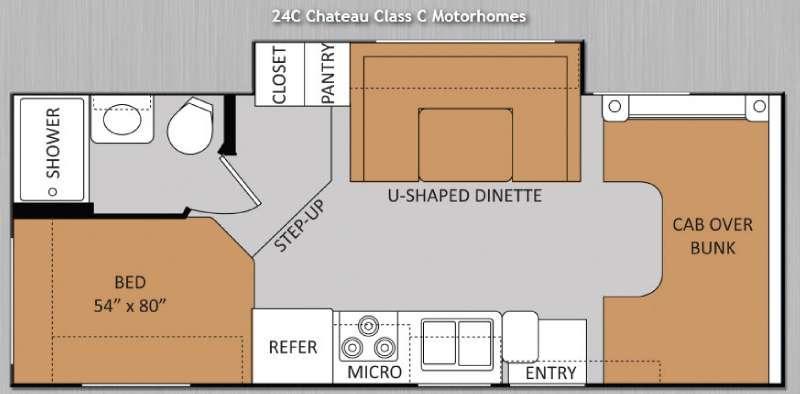 Floorplan - 2014 Thor Motor Coach Chateau 24C