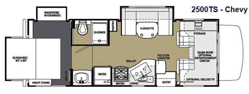 Floorplan - 2014 Forest River RV Sunseeker 2500TS Chevy