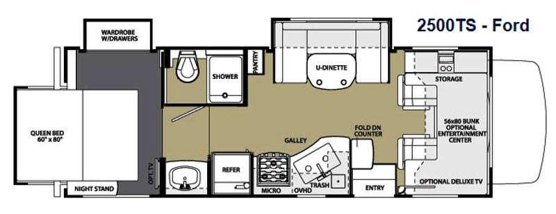 Floorplan - 2014 Forest River RV Sunseeker 2500TS Ford